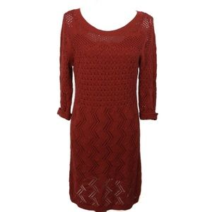 T733 Elle Red Sweater Dress Perfect Holiday Dress